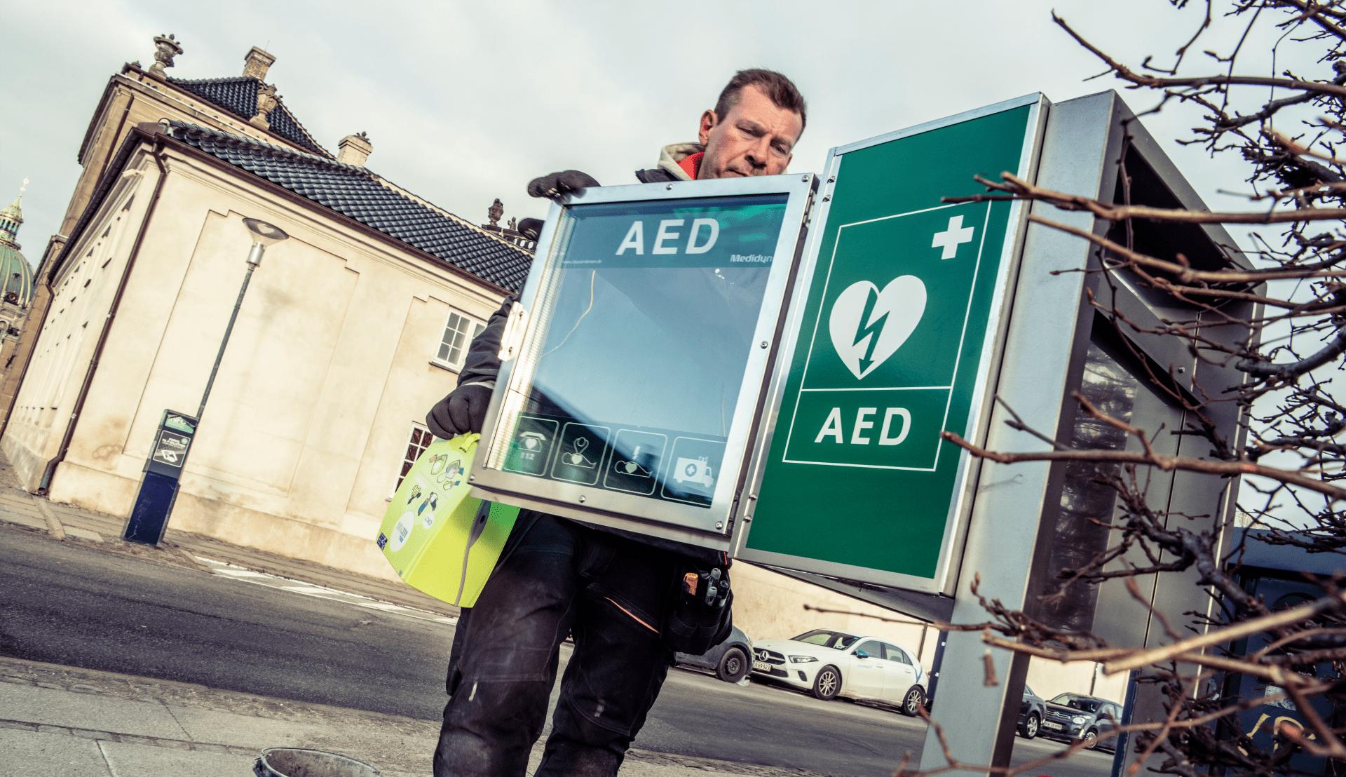 Opsaetning af en hjertestarter i Vordingborg